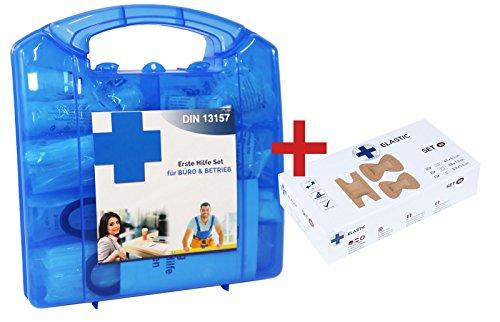 Lüllmann Design Betriebs Verbandkoffer + 50 Pflaster im Set Erste Hilfe Kasten DIN13157 inkl. Wandhalter