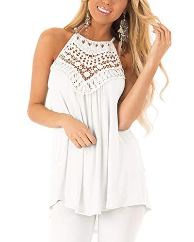 CNFIO Sexy Oberteil Damen Top Sommer Ärmellos Oberteile Crop Basic Schlinge T-Shirt Blusen E-Weiß-1 EU36-38