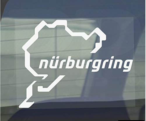 Autocollants pour fenêtres de voiture et de van Nurburgring - Race, Racing, Track, F1, F4, M3, M4, Racer, Turbo, Driver, Driving, V8, GTI, R, GTR, Drag, Strip, Course – 112 mm x 87 mm