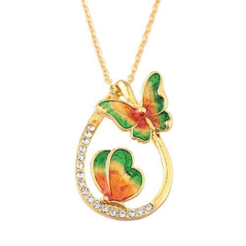 ODJOY-FAN 6g Bunt Schmetterling Diamant Halskette Wasser Fallen Geformt Anhänger Schlüsselbein Ketten Necklace (Grün,1 PC)