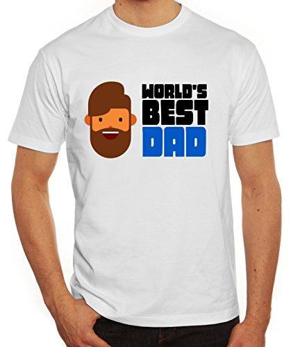 Geschenkidee Herren T-Shirt mit World's Best Dad Motiv von ShirtStreet Weiß