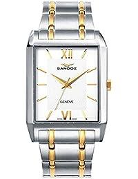 Sandoz 81403-03 - Reloj de caballero de cuarzo, cuadrado, con caja de acero y correa de acero bicolor, con cristal de zafiro.