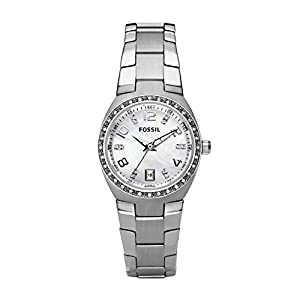 Fossil Damen Analog Quarz Uhr mit Edelstahl Armband AM4141