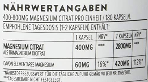 Magnesiumcitrat Kapseln [ 400 mg ] 180 Stück von Aava Labs – Neue Formel: KEIN Magnesiumstearat – 100% Vegan & NON-GMO – Reiner Nährstoff, nicht gestreckt – Für Muskel und