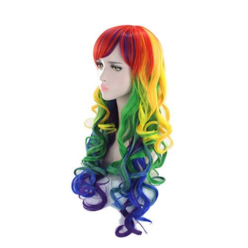 Perücke Kopfbedeckungen mehrere Farbe lange lockige Haare Prom Make Up Halloween 65-70cm