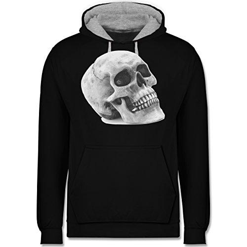 Piraten & Totenkopf - Totenkopf Skull - Kontrast Hoodie Schwarz/Grau Meliert