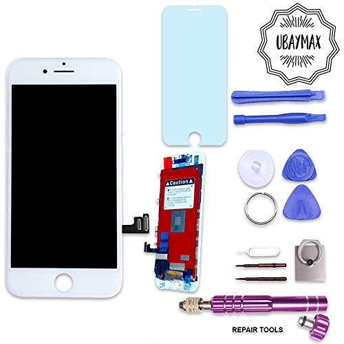 UBaymax iphone 7 display White LCD replacement screen kit with full set of tools and quality tempered glass