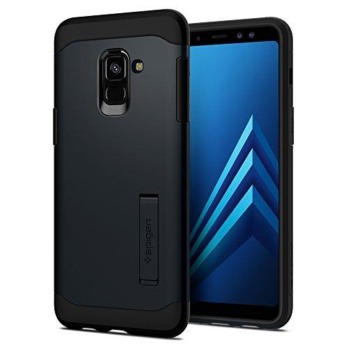 Spigen 590CS22752 Slim Armor für Samsung Galaxy A8 2018 Hülle Integrierter Kickstand 2-teilige Doppelschicht Schutz Handyhülle Schutzhülle Case - Metal Slate