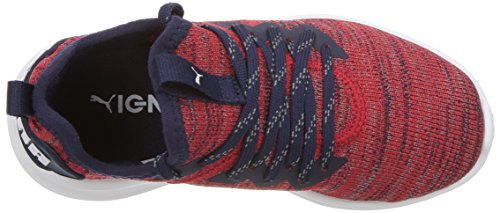PUMA Unisex-Kids Ignite Flash Evoknit Sneaker  Ribbon Red-Peacoat White  1 M US Little Kid