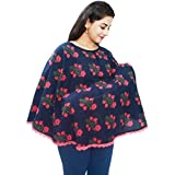 Mum's Caress Premium Cotton Nursing Covers/Feeding Cover/Maternity Top/Baby Cover/Poncho - Navy Floral