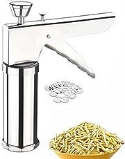 MURTISIDDH Stainless Steel Kitchen Press Grater Cookies/Indian Snakes/Murukku Maker/Farsan Sev Maker with Stailess Steel Jalis