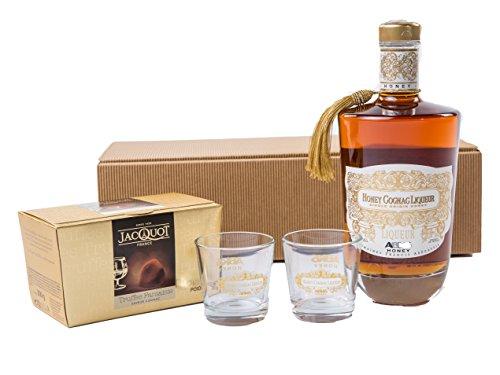 Geschenkset Honey Cognac mit 2 Gläsern und trüffel  Spirituose (1 x 0.7 l)