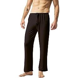 ZSHOW Pantalones de Yoga para Hombre de Algodón Pantalones Largo de Pijama X-Large Café
