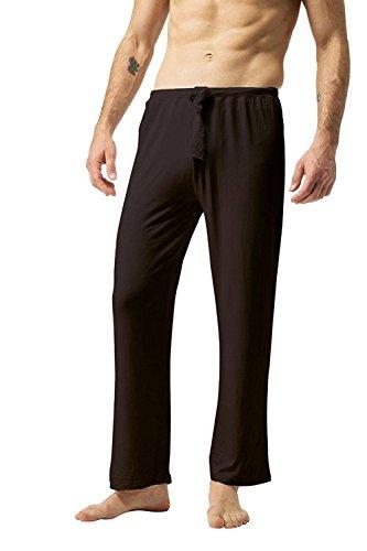 ZSHOW Herren Baumwoll Yoga Hose Lange Schlaf Hosen Weiche Strick Pyjama(Braun, X-Large) (Set Capri-baumwoll-pyjama)