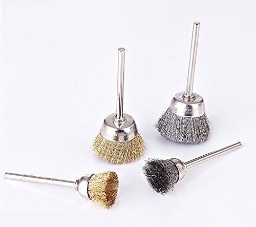 Preisvergleich Produktbild 3mm Schaft Mini Edelstahl Kupfer-Bürste für Elektrohänge Mühle Bohrer für Rust Polierbürste Schüssel Kopfform 10pcs / lot