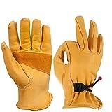 OZERO Gartenhandschuhe,Lederarbeitshandschuhe zum Arbeiten,1 Paar
