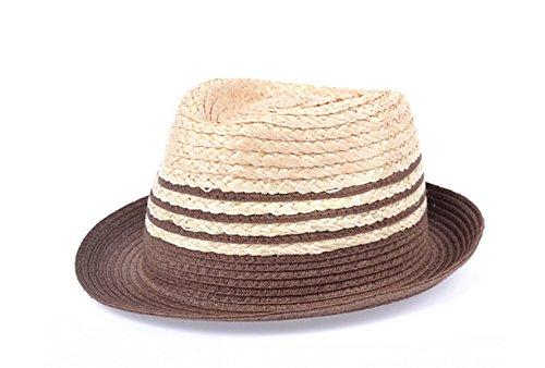 Mme été Chapeau De Soleil Couleurs Mélangées Raphia Chapeau De Paille De Jazz Chapeau De Soleil Petite brown