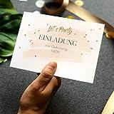 greetinks Einladungskarten zum Geburtstag | Inkl. Druck Ihrer Texte | 25 Stück | Gold Party | Klappkarte | Einladung