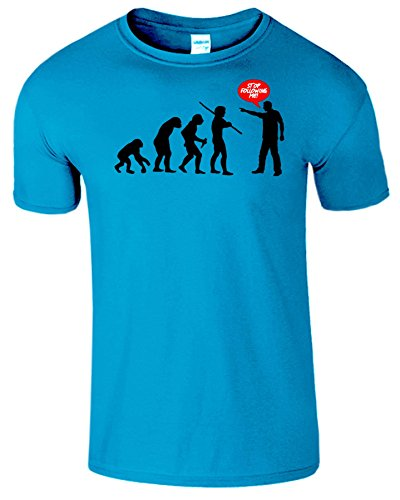 Evolution Stop Following Me Komisch Herren T-Shirt Antik Saphir