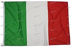 Idea Regalo - Bandiera Italia 150x100 cm in tessuto nautico antivento da 115g/m², bandiera italiana 150x100 lavabile, bandiera 150x100 con moschettoni o cordino, doppia cucitura perimetrale e fettuccia di rinforzo