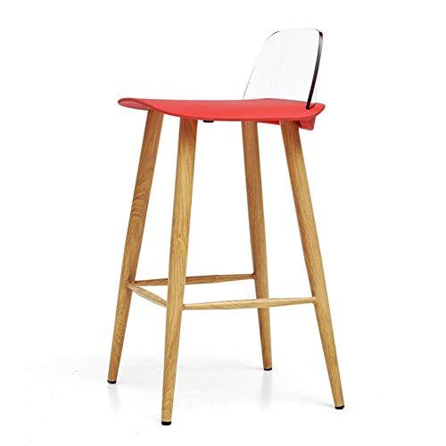 Dall Barhocker Metallrahmen Hoher Hocker PP Sitz Essensstuhl Transparente Rückenlehne Küche Frühstücksbar Tischstühle (Farbe : T6)