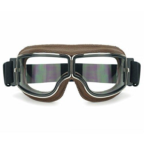 Heinmo Motocross Aviator Ski Motorrad Roller Brille Retro Helm Brille für Harley (White lens brown padding)