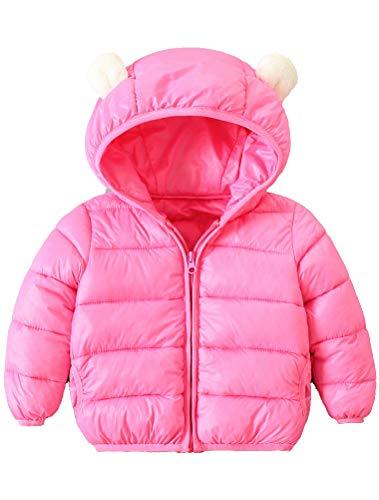ARAUS-Baby Winter Jacke Jungen Mädchen Mäntel mit Kapuze Herbst Winter wattierte Jacke warme Steppjacke 0-4 Alter Rot 70
