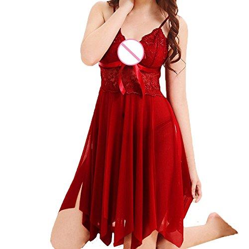 Damen Dessous,Binggong Mode Frauen Nette Sexy Sling Bogen Uniformen Versuchung Unterwäsche Nachthemd Transparentes Kleid aus Spitze (Sexy Rot, XXXL) (Sexy Dessous-bogen)