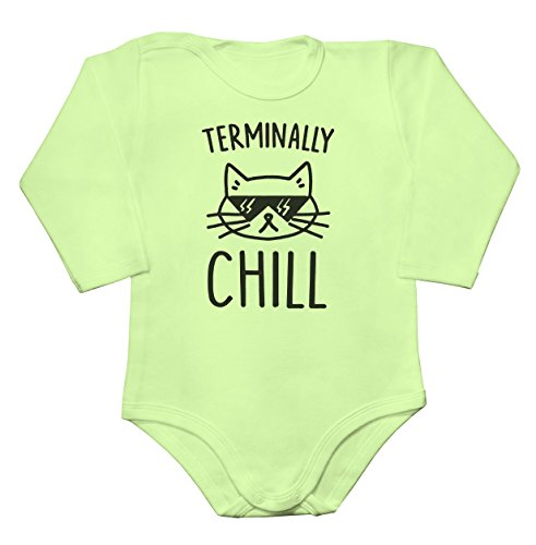 Terminally Chill Cool Cat With Sunglases Baby Long Sleeve Romper Bodysuit Babyspielanzug Small (Hipster-sunglases)