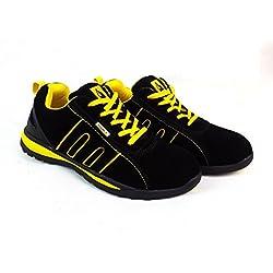 Scarpe antinfortunistiche unisex, con punta in acciaio, pelle scamosciata, per lavorare in sicurezza, Yellow/Black Suede, 7