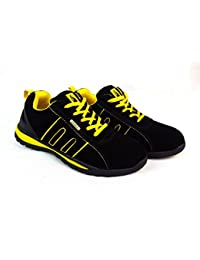 Starex Gorra de Acero Inoxidable con Tobillo para Zapatos, Zapatillas de Deporte, para Hombre, Talla de Hiker, Negro/Amarillo, 13