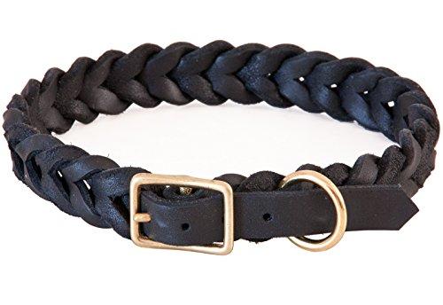 CopcoPet Fettleder-Halsband, Braun, 15mm Breite, 30 - 34cm Halsumfang, geflochten mit Dornschließe, geflochtenes Hundehalsband, Handarbeit aus Deutschland, hochwertiges Rindsleder