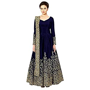 BRIDAL4Fashion Women's Taffeta Silk Semi Stitched Anarkali Long Gown (Free Size)
