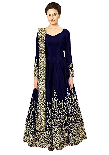 BRIDAL4Fashion Women's Taffeta Silk Semi Stitched Blue color Anarkali Long Gown (Free Size) (Blue)