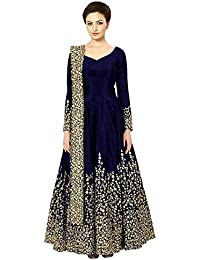 570edbf2d830 Sojitra Enterprise Women s Taffeta Silk Semi Stitched Anarkali Gown (Free  Size) (blue)