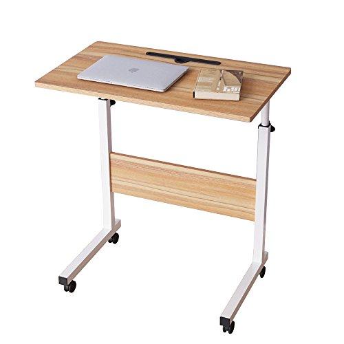 DlandHome 60 * 40cm Computertisch Lernen Schreibtich Pflegetisch Bettisch Frühstückstisch Höhenverstellbar mit Rollen Beistelltisch für Büro Schlafzimmer Mit Tablet-Steckplatz Eiche
