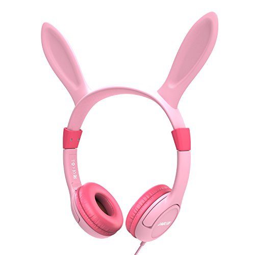 headphones for kids Over Ear, Lobkin Wired Headphones With Music Audio Share Port For Children,Foldable On Ear Headphones Volume Limited Protecting Hearing,For Iphone,Android Smartphones, Pc (Pink2)