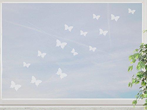 wandfabrik - Fenstersticker 15 Schmetterlinge 3-5cm Motiv (S2xs) - frosty - 798 - (Xt)