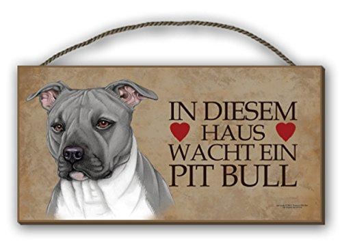 IN DIESEM HAUS WACHT EIN PIT BULL - HOLZSCHILD MDF 25x12,5 cm 40 HUNDESCHILD -
