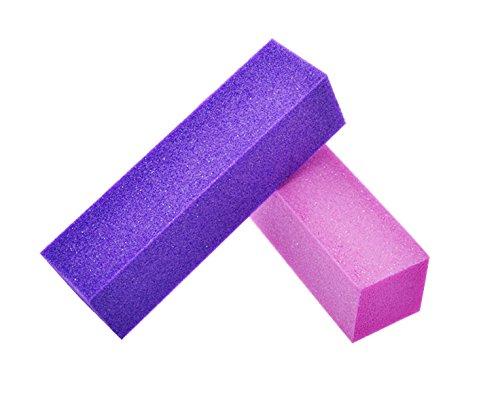 2 Stück New Nail Art Buffer Set Lila und Rosa Nagelfeile Nail Art Maniküre Pediküre Schleifblock Feile Nagel Design Zubehör -