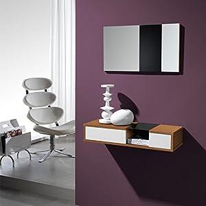 Meuble d'entrée Noyer + miroir - CLOUD - L 80 x l 28 x H 15