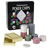 Jonquin Professional Poker Chips - 100 Poker Chips, 2 Decks of Playing Cards