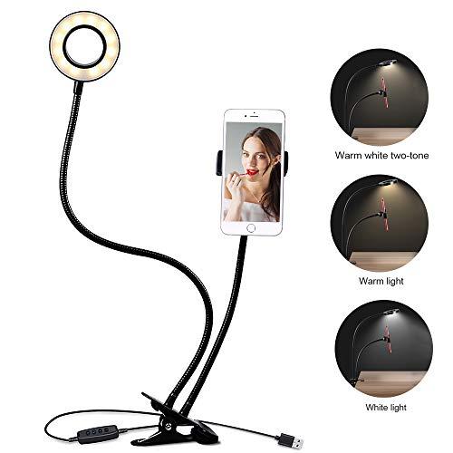 Leselampe Buch Klemme, Klemmlampe mit Handyhalter, 3-Licht-Modus, 10 Helligkeitsstufen LED Leselampe Bett Klemme zum Lesen, Ansehen von Videos, Selbstauslöser