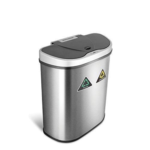 Ninestars 9 Sterne (NINAJ DZT 70-11R) -70 Liter, 18,5 Liter Edelstahl Mülleimer, Recycle Bewegungsmelder Silberfarben/Schwarz, Silver, 33 x 54.2 x 67.1 cm (Recycle Automatischer Mülleimer)