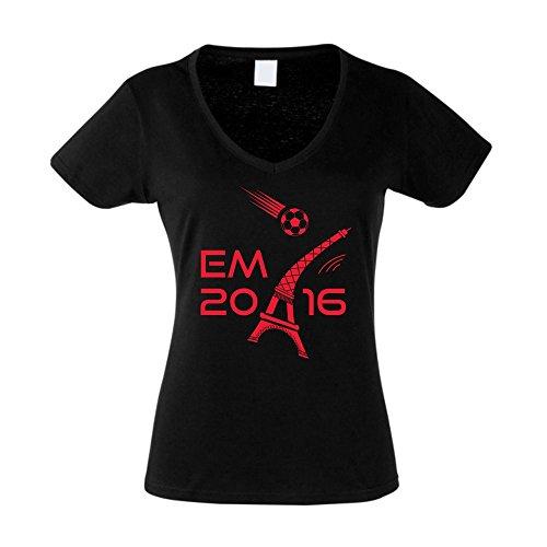 Damen T-Shirt V-Neck EM 2016 - Eifelturm - von SHIRT DEPARTMENT schwarz-weiss