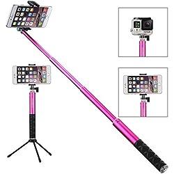 Foneso Selfie Stick Con Bluetooth Wireless Remote Shutter Aggiustabile Treppiede per Smartphone e Gopro macchina fotografica Rosa