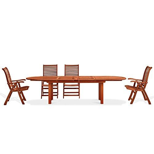 Table ovale en bois naturel mod. Pivoine 72 x 180 x 70 cm, table de jardin en Keruing à transformation artisanale, table de bois dur usage extérieur, table en bois de keruing extensible jusqu'à 180 cm.