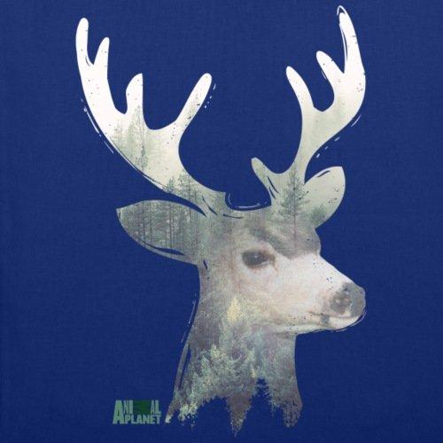 Spreadshirt Animal Planet Hirschkopf Hirsch Porträt Wald Stoffbeutel Royalblau