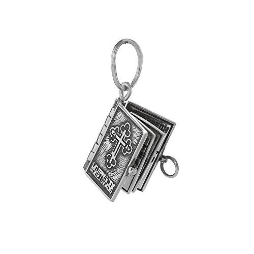NKlaus Sterling Silber 925 Orthodoxe Anhänger Gebetbuch Vaterunser russisch neu 36242