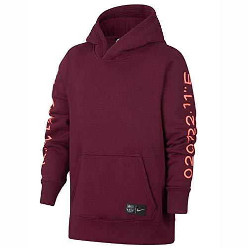 Nike FCB Y NSW Hoodie PO CRE CL Sweatshirt, Unisex, für Kinder, Mehrfarbig, (DEEP Maroon/LT Atomic PINK) (Barcelona Hoodie)
